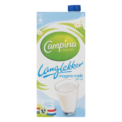Campina Langlekker melk 0% vet