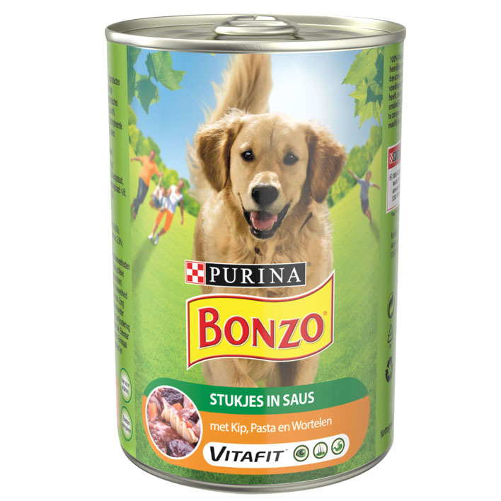 Bonzo Kip met groente en pasta