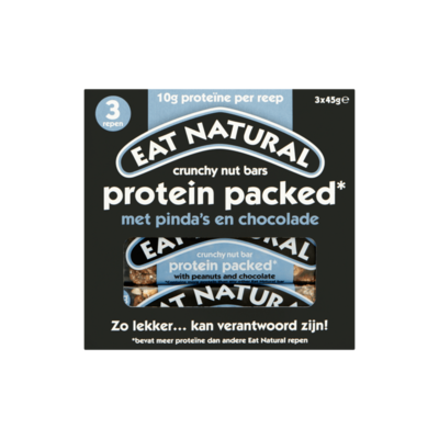 Eat Natural Crunchy Nut Bars Protein Packed met Pinda's en Chocolade