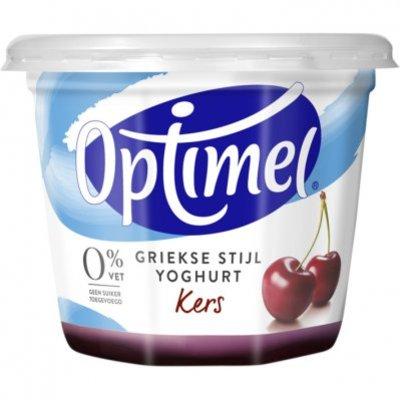 Optimel Magere griekse stijl yoghurt kers 0% vet