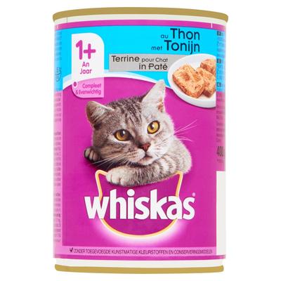 Whiskas Kattenvoer Nat Paté Tonijn 1+ Jaar Blik 400 g