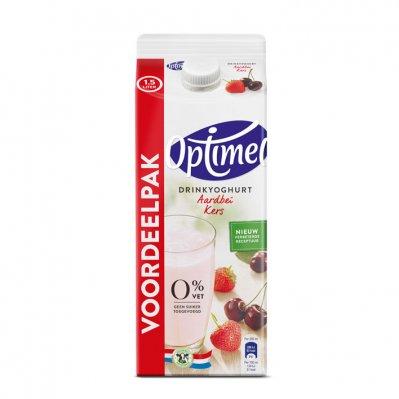 Optimel Drinyoghurt aardbei kers 0% vet