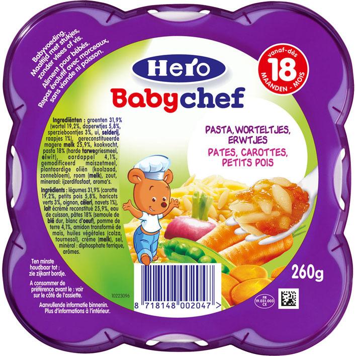 Hero Babychef pasta-erwtjes- wortelen 18+