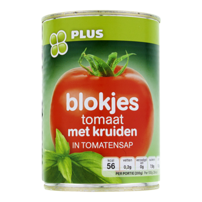 Huismerk Tomatenblokjes met kruiden
