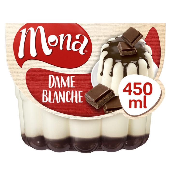 Mona Dame blanche pudding met chocoladesaus