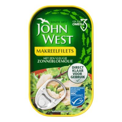 John West MSC Makreelfilets met een Vleugje Zonnebloemolie