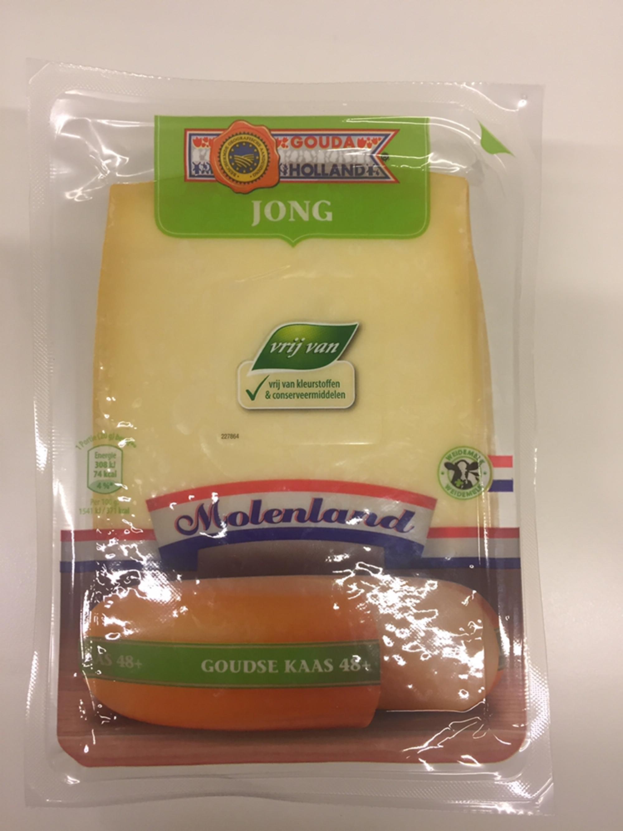 Huismerk goudse kaas jong 48+ plakken 400 gram