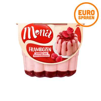 Mona Frambozen Pudding met Rode Bessensaus