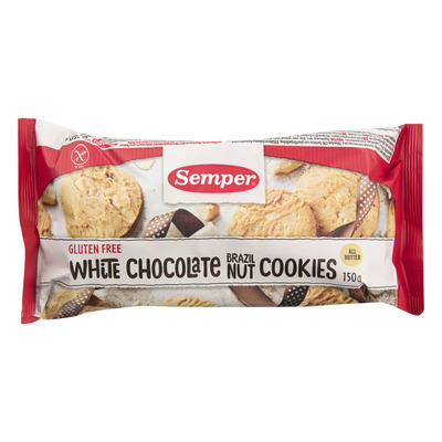 Semper White chocolate Brazil nut cookies gv