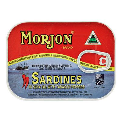 Morjon Sardines in sojaolie met tabasco