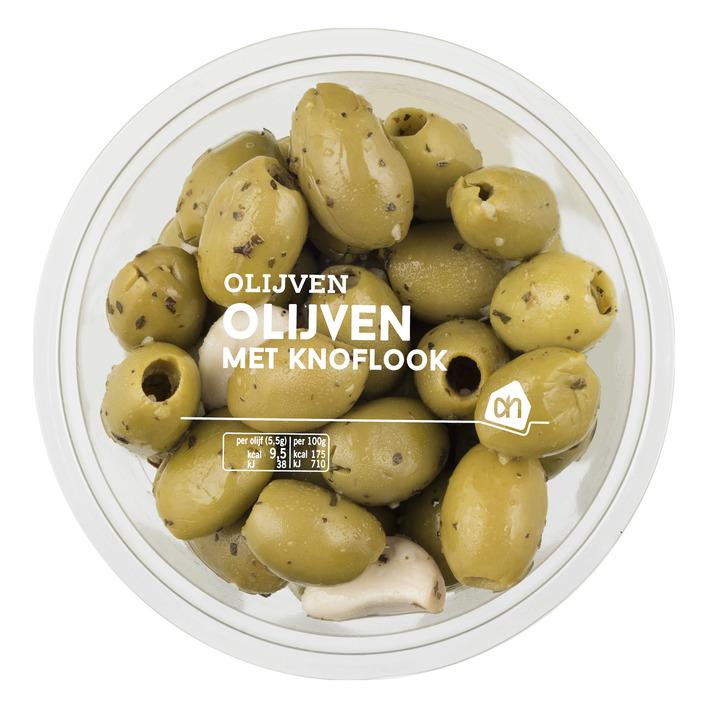 Huismerk Groene olijven met knoflook