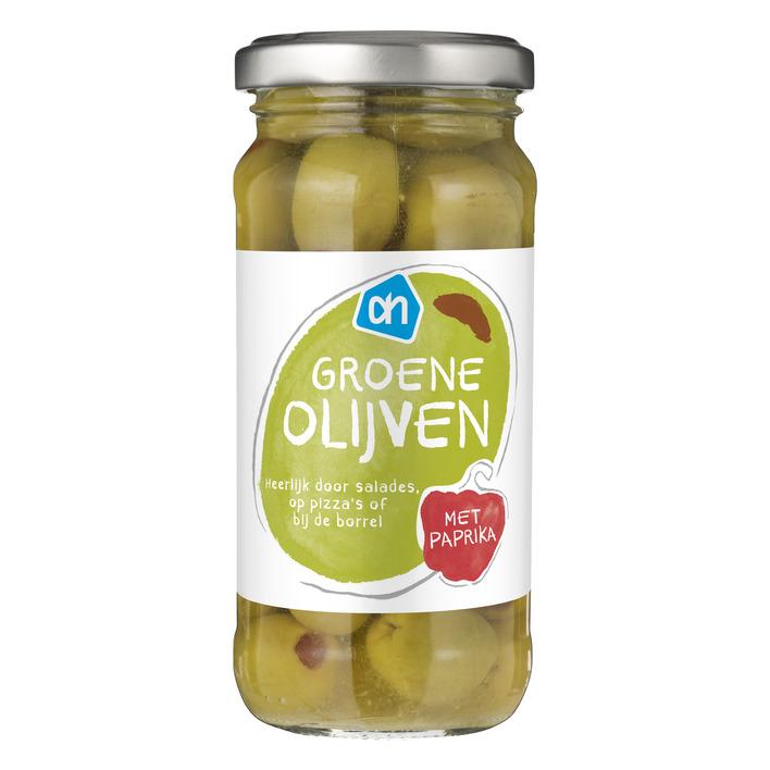 Huismerk Groene olijven met piment