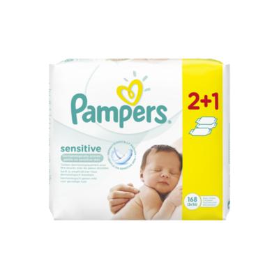 Pampers Sensitive Babydoekjes 3 Verpakkingen = 168 Doekjes