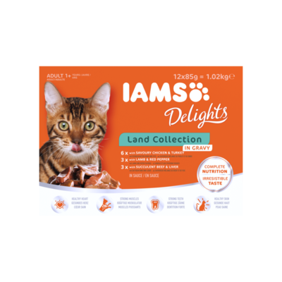 Iams Delights Adult 1+ Years Land Collection in Gravy