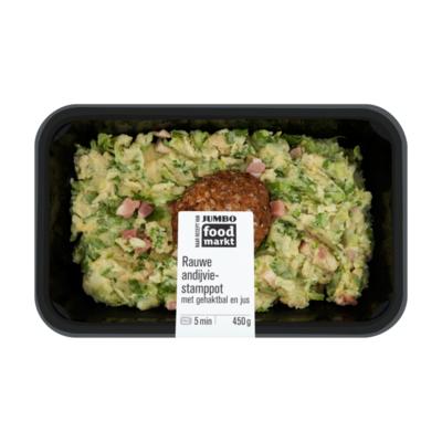 Huismerk Foodmarkt Verse Maaltijd Rauwe Andijviestamppot met Gehaktbal en Jus