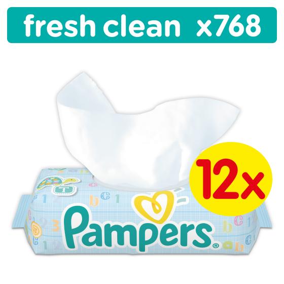 Pampers babydoekjes fresh 12 x 64 stuks 768 stuks