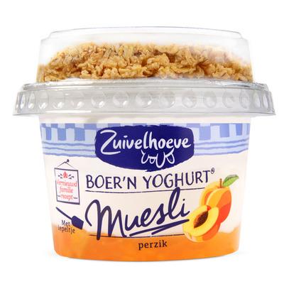Zuivelhoeve Boer'n yoghurt muesli perzik