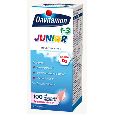 Davitamon Junior 1+ vloeibare vitaminen framboos