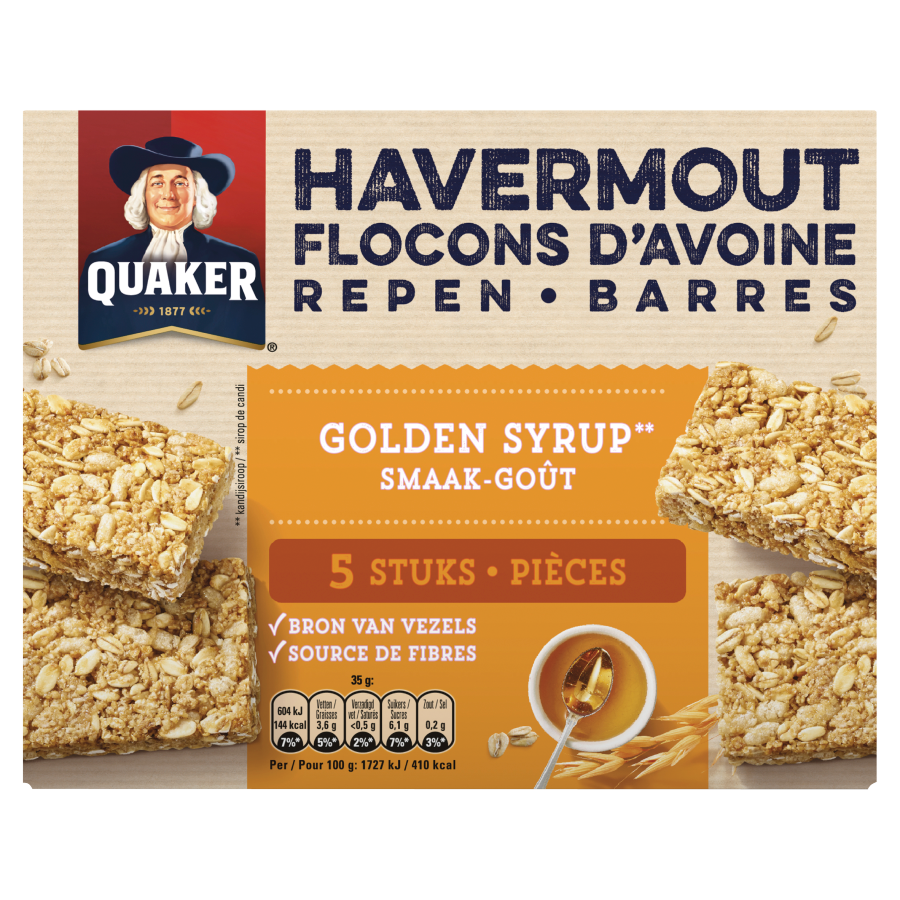 Quaker Havermoutreep golden syrup 5 stuks