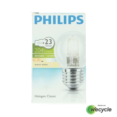 Philips Lamp Eco30 kogel 18W helder grote fit