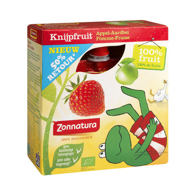 Zonnatura Knijpfruit appel-aardbei