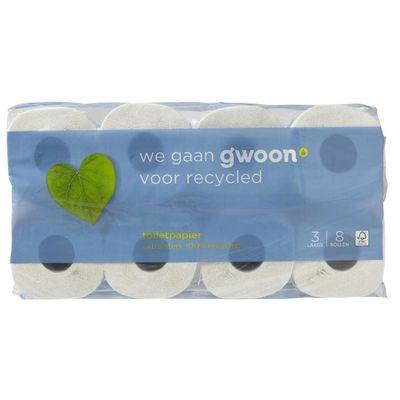 Huismerk Toiletpapier Recycled 8 Rollen 3 Laags
