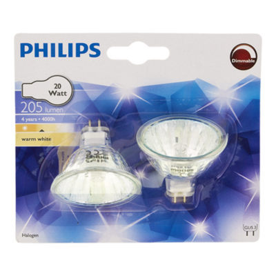 Philips Lamp Halogeenspot 20 W 12V 2-pack