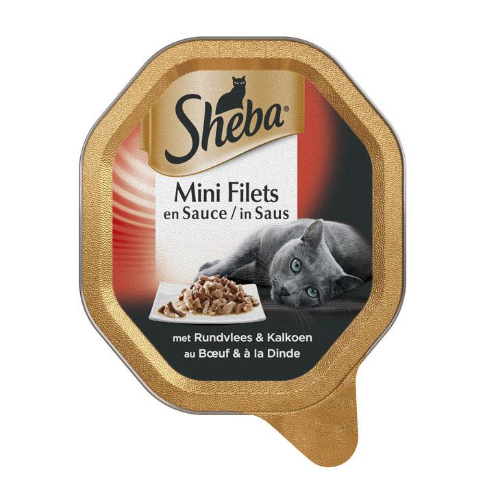 Sheba Kattenvoer nat filets in rund & kalkoen