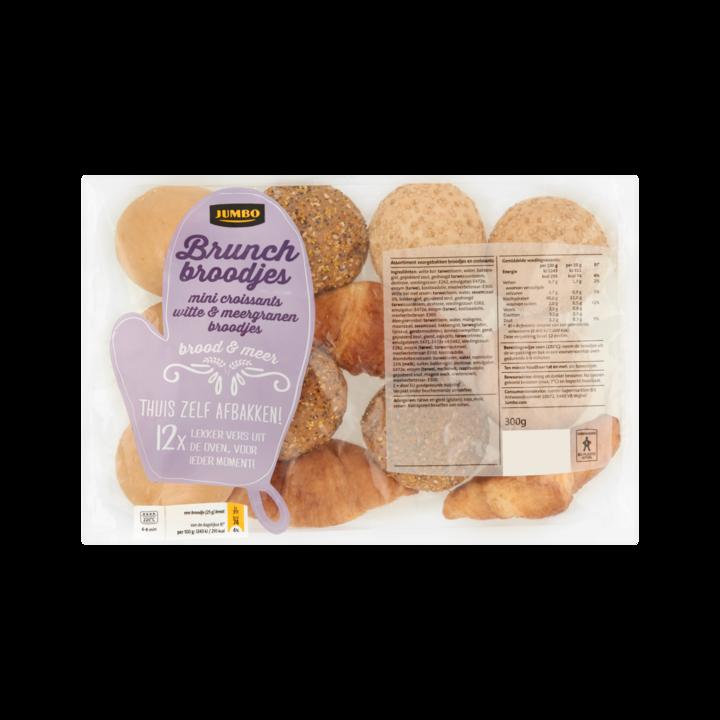 Huismerk Brunch Broodjes Mini Croissants, Witte & Meergranen Broodjes 12 Stuks