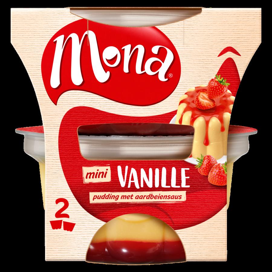 Mona Duo pudding vanille met aardbeiensaus