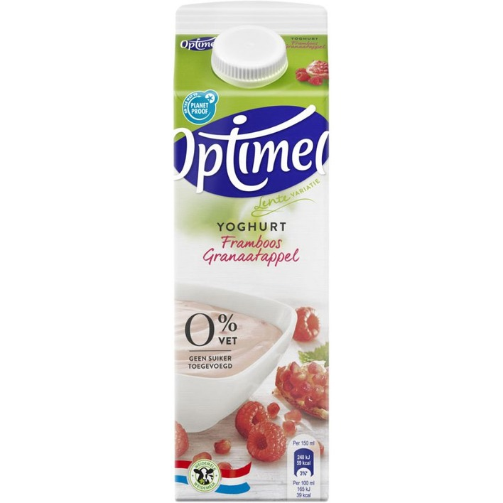 Optimel Magere yoghurt framboos granaatap 0% vet