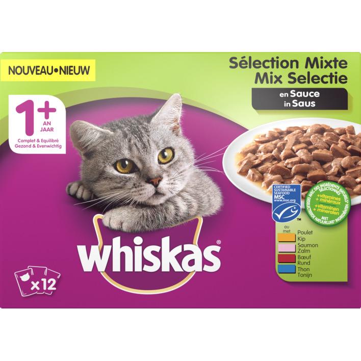 Whiskas Kattenvoer nat mix in saus 1+ jaar
