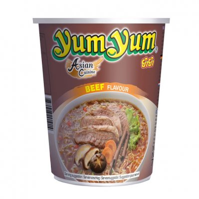 Yum Yum Beef flavour instant noodles cup