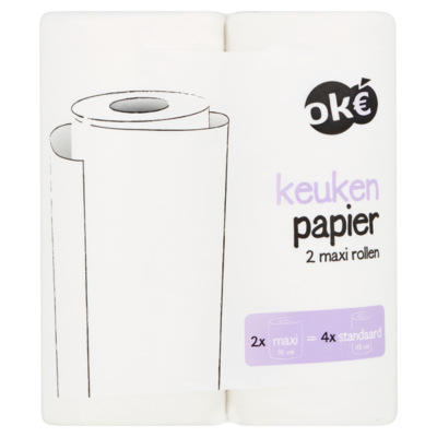 Budget Huismerk Keuken Papier Maxi Rollen 2 Stuks