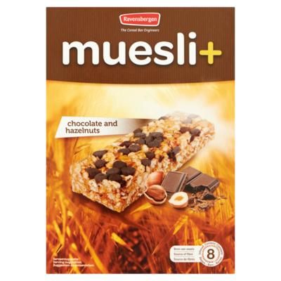 Muesli+ Mueslirepen chocolade 8 stuks