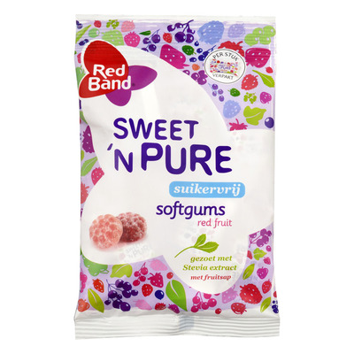 Red Band Sweet'n pure winegums red fruit suikervr