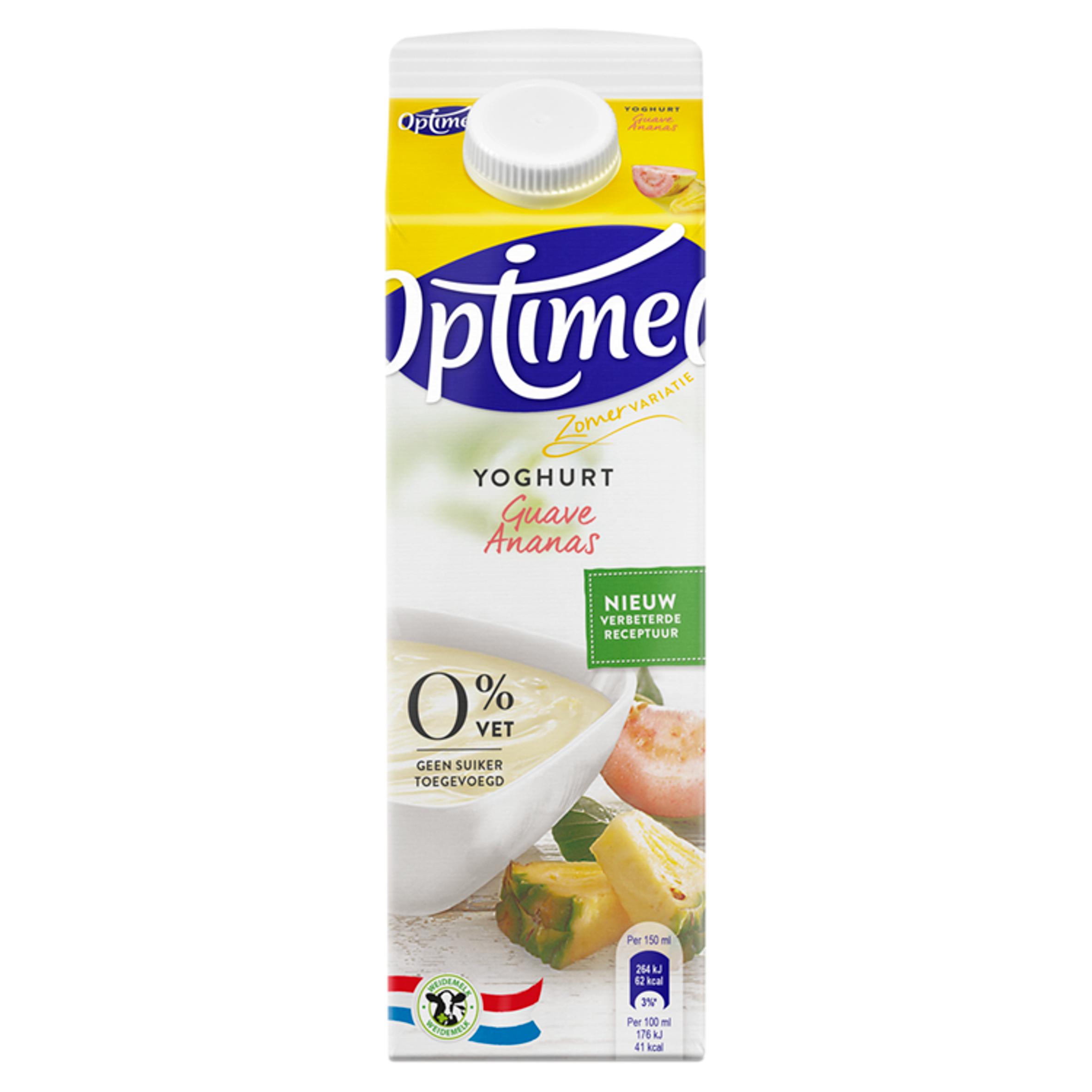 Optimel Yoghurt Framboos Granaatappel 0% Vet 1000 ml