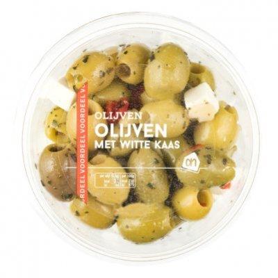 Huismerk Groene olijven met witte kaas