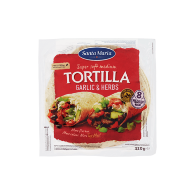 Santa Maria Super Soft Medium Tortilla Garlic & Herbs 8 Stuks