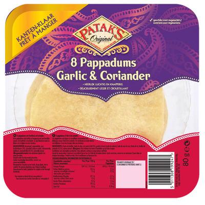 Patak's Pappadums garlic coriander kant en klaar