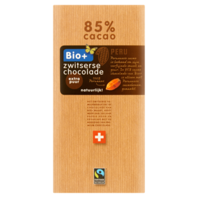 Bio+ Chocoladereep Puur 85% Fairtrade