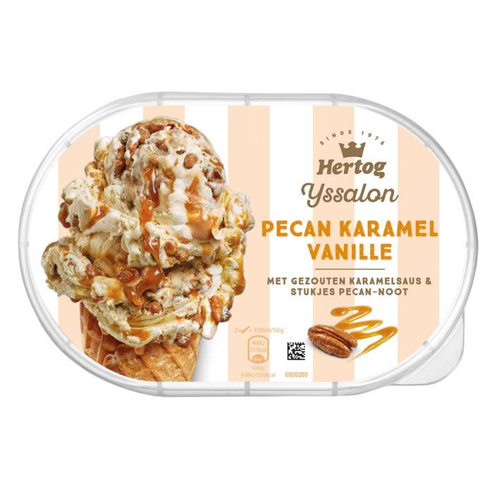 Hertog Pecan-karamel vanille roomijs
