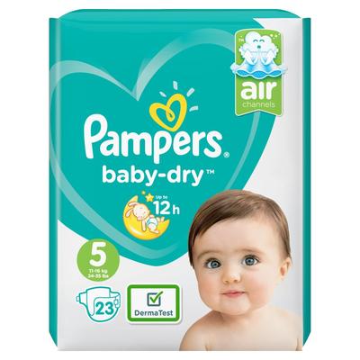 Pampers Baby-Dry Maat 5, 23 Luiers, Voor Droge Ademende Huid