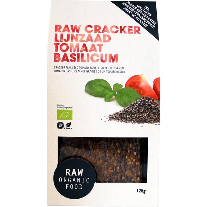 Raw Organic Food Crackers lijnzaad tomaat basilicum