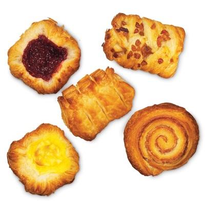 Mini Danish Mini kaneelkoek, pecan-noten koek, vanillekroon, frambozenkroon en appelkroon