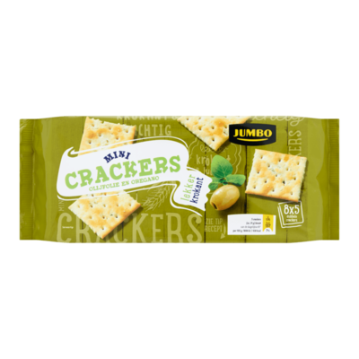 Jumbo Mini Crackers Olijfolie en Oregano 8 x 5 Dubbele Crackers