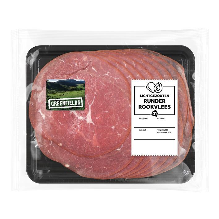 Huismerk Greenfields runderrookvlees l. gezouten
