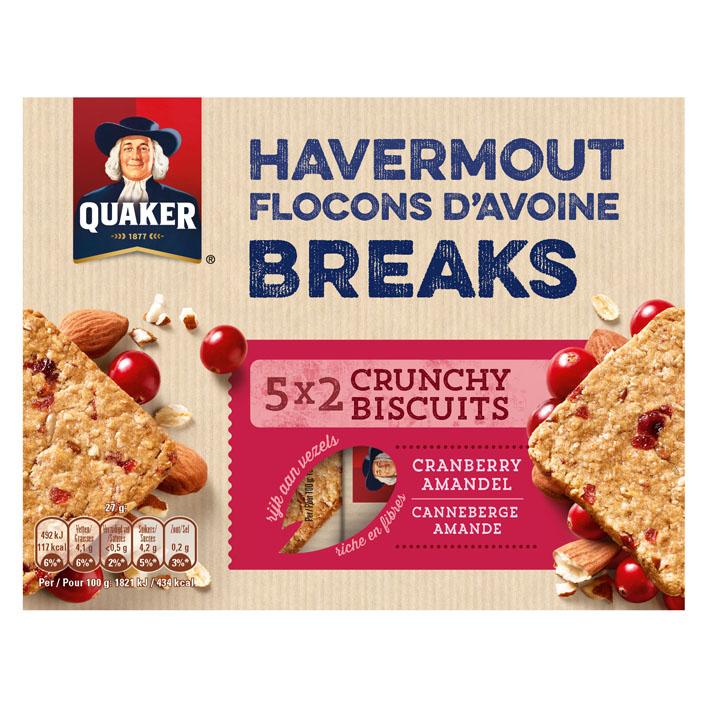 Quaker Havermout biscuit cranberry & amandelen