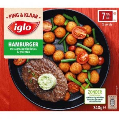 Iglo Ping & Klaar hamburger met aardappeltjes