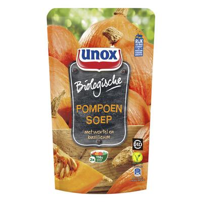 Unox Soep in zak biologische pompoensoep